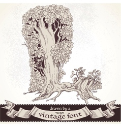 Fable forest hand drawn by a vintage font - l vector