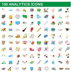 100 analytics icons set cartoon style vector