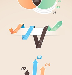 Set of colorful infographic diagrams with arrows vector