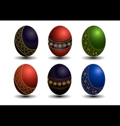 Collection colored easter eggs with gold patterns vector