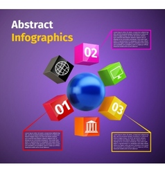 Cubes and 3d sphere infographic vector