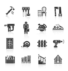 Carpentry icons black vector