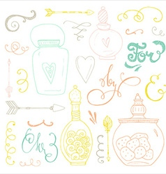 Romantic doodle bundle vector