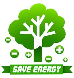 Save energy sign with tree and symbols vector
