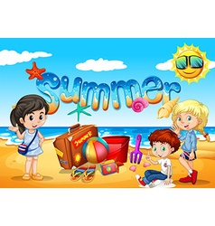 Children enjoy summer on the beach vector