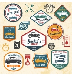 Retro car labels vector