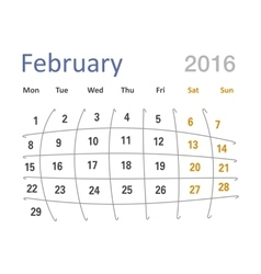 February 2016 calendar funny grid vector
