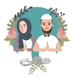 Couple muslem islam greetings ramadhan ied as for vector