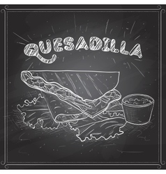 Quesadilla scetch on a black board vector