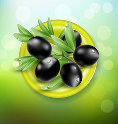 Background with black olives on a green plate vector