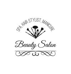 Beauty Salon Badge Makeup Brushes Logo Filigree vector image vector image
