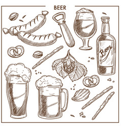 beer of high quality and tasty snacks sketches set vector image vector image