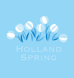 blue holland style tulip flower pattern modern vector image vector image
