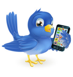 Bluebird with mobile phone vector