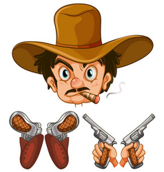 Cowboy head and two pairs of guns vector