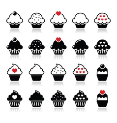 Cupcake with heart cherry and sparkles icons set vector image