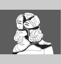 depressed young woman broken into pieces concept vector image