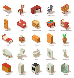 domestic furniture icons set isometric style vector image