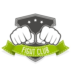 Fight club emblem with two fists and banner vector