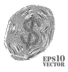 Fingerprint with dollar sign vector