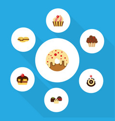 Flat cake set of dessert cake doughnut and other vector
