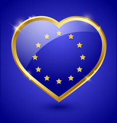 Glossy european heart vector image vector image