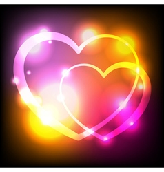 Glowing Hearts Abstract Background vector image