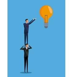 men cooperation business bulb idea vector image