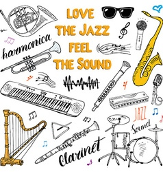 Music Instruments Set Hand Drawn Sketch Isolated vector image vector image
