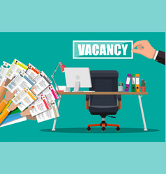 Office chair sign vacancy box with office itmes vector