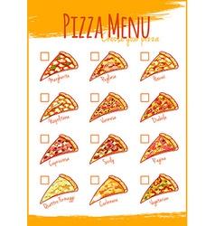 Pizza menu A4 size Template menu vector image vector image