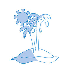 Silhouette island with palms with cocnut and sun vector