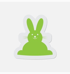 simple green icon - Easter bunny vector image