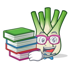 Student with book fennel mascot cartoon style vector