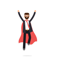 Superhero businessman in red cloak character in vector