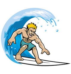 surfer enjoying the wave vector image vector image