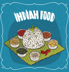 traditional indian dish thali from rice vector image