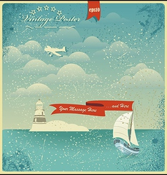 Vintage seaside view poster background vector image