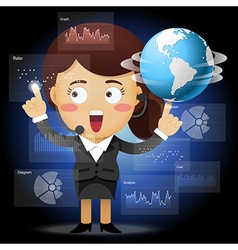 Woman spinning globe and working with data process vector