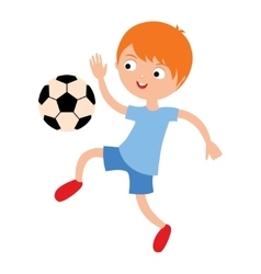 Young child boy playing football vector