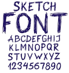 Handwritten blue sketch alphabet vector