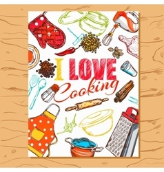I Love Cooking Poster vector image
