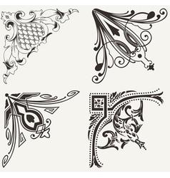 Set Of Four Hogh Ornate Corners Elements Of Design vector image