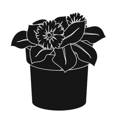 Flower in the pot icon in black style isolated on vector image