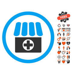 Drugstore icon with love bonus vector
