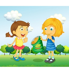 Two girls talking with junkfoods vector image