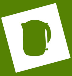 electric kettle sign  white icon obtained vector image
