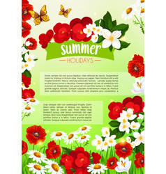 Summer poster of blooming flowers vector