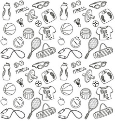 Hand drawn fitness seamless pattern vector