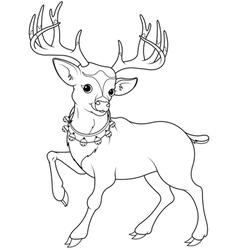 Reindeer Rudolf coloring page vector image